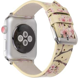 Juzzhou Replacement Band For Apple Watch iWatch Series 1/2/3 Sport Leather Flower Blossom Watercolour Wriststrap Bracelet Wrist Stra Wristband With Metal Adapter Clasp Woman