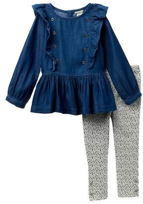 Calvin Klein Lightweight Denim Ruffle Top & Leggings Set (Little Girls)