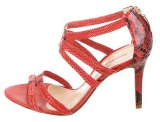 Alexandre Birman Embossed Leather Sandals Red Embossed Leather Sandals