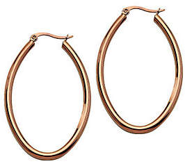 Steel by Design Stainless Steel Chocolate-Plated Oval Hoop Earr