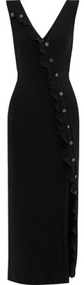 Saloni Marley Button-embellished Stretch-crepe Midi Dress