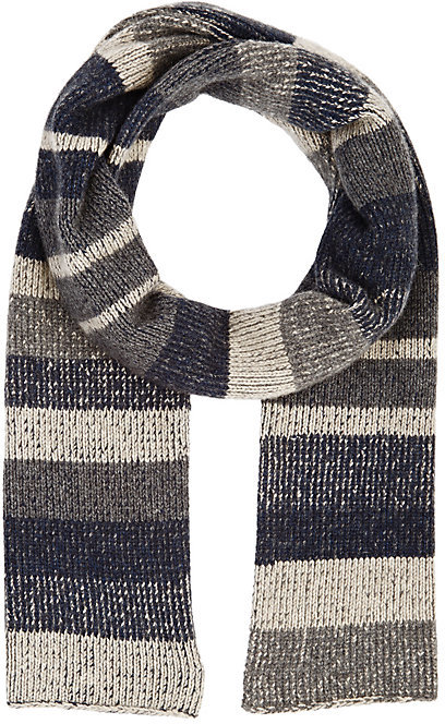 The Elder Statesman THE ELDER STATESMAN MEN'S STRIPED RIB-KNIT SCARF