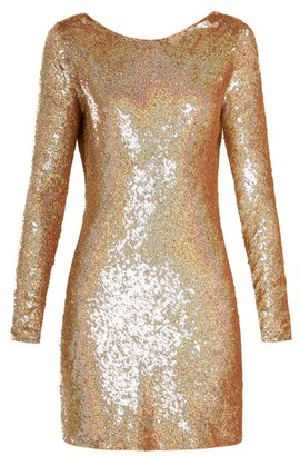 Ashish Cowl Back Sequin Embellished Long Sleeved Dress - Womens - Gold