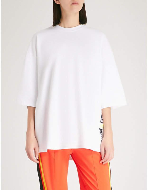 logo-print oversized cotton-blend T-shirt