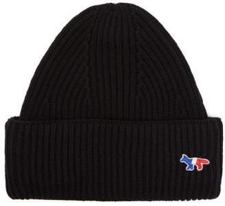 MAISON KITSUNÉ Logo Embellished Ribbed Knit Wool Beanie Hat - Mens - Black