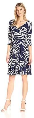 Tiana B Women's Palm Printed 3/4 Sleeve Jersey Fo-Wrap Dress