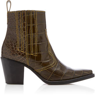 Ganni Croc-Effect Leather Ankle Boots