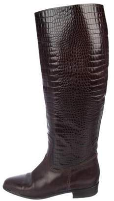 Bruno Magli Crocodile Knee-High Boots Brown Crocodile Knee-High Boots