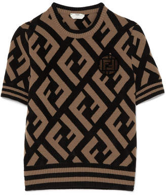Fendi Appliquéd Jacquard-knit Sweater - Brown