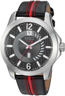 ESQ by Movado ESQ Men's ' Quartz Stainless Steel and Leather Casual Watch, Color Black (Model: 37ESQE09001A)