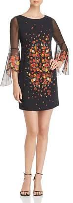 Elie Tahari Esmarella Floral Print Bell Sleeve Dress