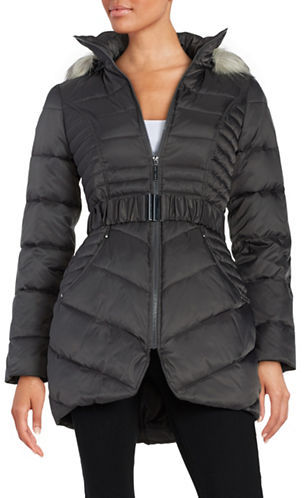 Betsey JohnsonBetsey Johnson Faux Fur-Trimmed Hooded Belted Puffer Coat