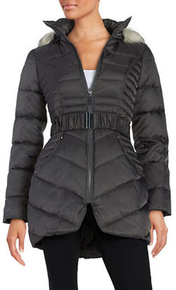 Betsey Johnson Faux Fur-Trimmed Hooded Belted Puffer Coat $220 thestylecure.com