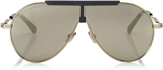 Jimmy Choo EDDY Silver Mirror Aviator Sunglasses with Antique Gold, Grey and Khaki