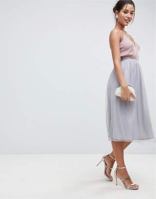 Asos Design Mesh Midi Prom Skirt