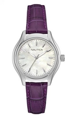 Nautica NCT 18 Mother Of Pearl Dial Leather Strap Ladies Watch NAD11004M