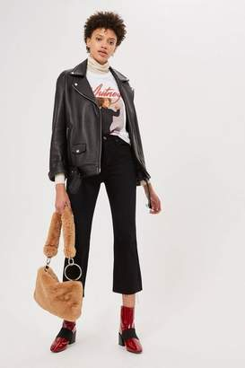 Topshop Moto washed black dree cropped jeans