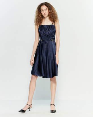 Yumi Navy Embellished Satin Party Dress