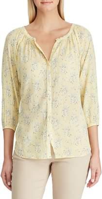 Chaps Petite Floral Raglan-Sleeve Blouse