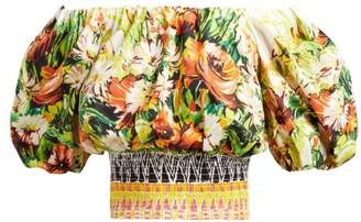 Prada Floral Print Cotton Poplin Crop Top - Womens - Yellow Multi