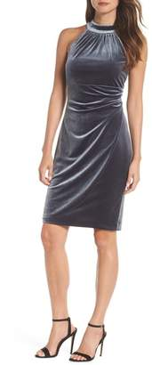 Vince Camuto Draped Velvet Cocktail Dress
