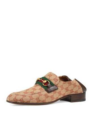 41c0a85ef1a Gucci Men s GG Canvas Horsebit Fold-Down Loafers