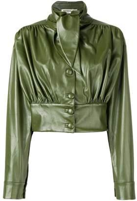 Matériel faux leather cropped jacket