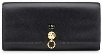 Fendi logo embossed flap purse