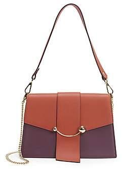 Strathberry Women's Crescent Tri-Color Leather Shoulder Bag