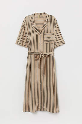 H&M Striped Shirt Dress - Beige