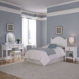Home Styles Furniture Bermuda White Twin Headboard, Night Stand, Vanity with Bench