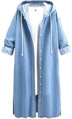 Zago Women Trench Hooded Plus-Size Denim Long Maxi Overcoat Jackets 3XL