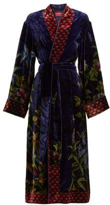 F.R.S – For Restless Sleepers F.r.s For Restless Sleepers - Nomos Jungle Print Velvet Robe - Womens - Blue Print