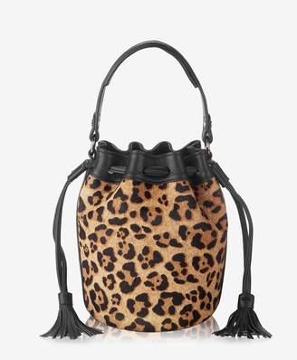 GiGi New York Genevieve Bucket Bag In Leopard Italian Haircalf