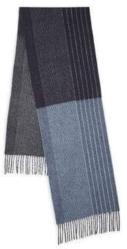 Saks Fifth Avenue BLACK Striped Cashmere Scarf