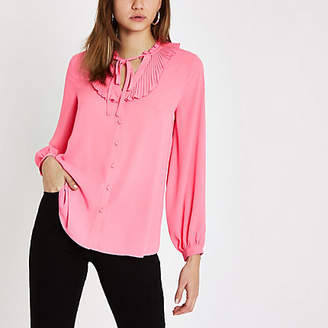 River Island Pink frill tie neck blouse