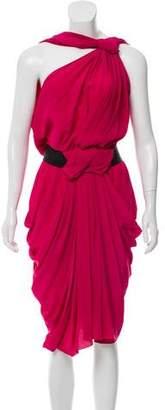 Vionnet Silk Asymmetrical Ruched Dress