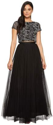 Adrianna Papell Cap Sleeve Corded Lace and Mesh Two-Piece Gown Women's Dress