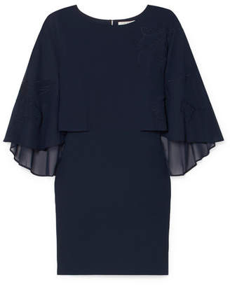 Halston Embroidered Cape-effect Crepe Dress - Navy