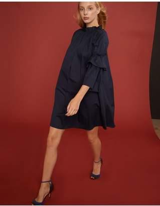 Cynthia Rowley Eden Smocked Ruffle Neck Mini Dress