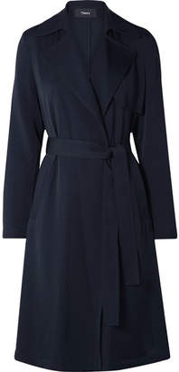 Theory Oaklane Silk Trench Coat - Midnight blue