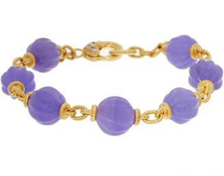 """Judith Ripka 14K Clad_Fluted Jade Bead 8"""" Bracelet"""
