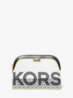 MICHAEL Michael Kors Carolina Large Graphic Logo Jacquard Travel Pouch