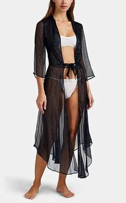 Raven & Sparrow by Stephanie Seymour Women's Chappy Metallic-Striped Silk Dressing Robe - Navy