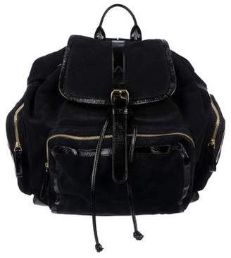 Pierre Hardy Patent Leather-Trimmed Suede Backpack