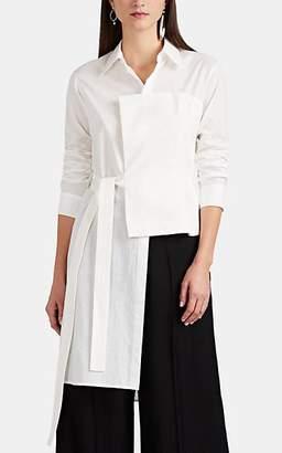 Yohji Yamamoto Regulation Women's Linen-Detailed Cotton Asymmetric Blouse - White