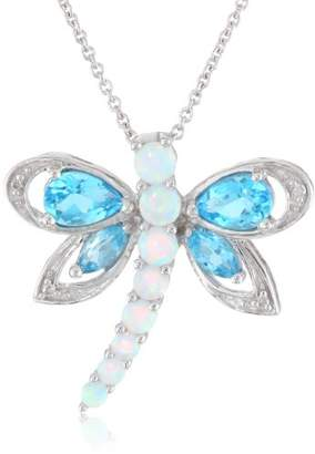 Sterling Silver Multi-Gems and Genuine White Diamonds Dragonfly Pendant Necklace