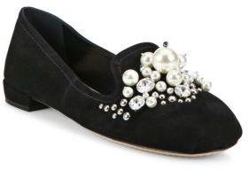 Miu Miu Jeweled Suede Loafers $850 thestylecure.com