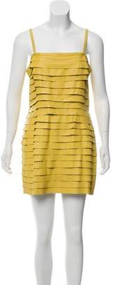 Just Cavalli Leather Ruffled Dress