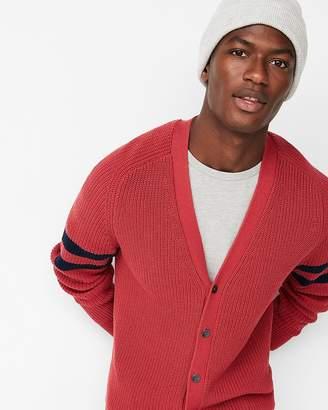 Express Striped Sleeve V-Neck Cotton Cardigan